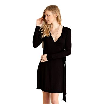 Long Sleeve Wrap Dress, Black