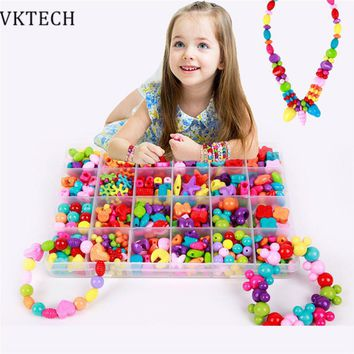 Candy Color DIY Bracelet Wear Beads Kids Toys for Children Geometric Personalized Jigsaw Puzzle Educational Toys