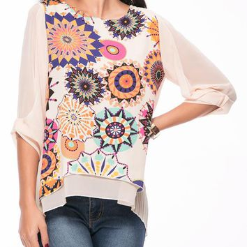 Casual Round Neck  Printed High-Low Chiffon Blouse