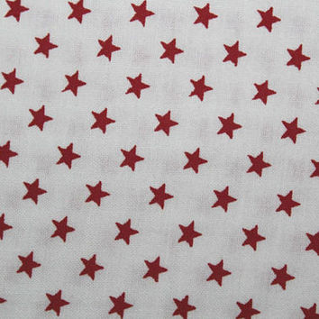 Fabric, Fabric By The Yard, Small Red Stars, White Background, Patriotic, 4th of July Fabric, Cotton Fabric, Quilting Fabric, Sewing Fabric
