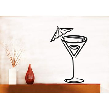 Vinyl Decal Wall Sticker Glass of Cocktail Decor Cafe Restaurant Unique Gift (n748)
