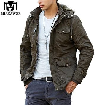 2017 New Winter Jackets Thick Warm Men Parkas Hooded Windproof Men Coat Cotton-Padded Military Jacket Brand Clothing MJ348