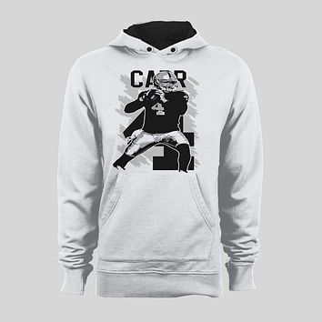 DEREK CARR POP ART OLDSKOOL CUSTOM ART OAKLAND FOOTBALL HOODIE /SWEATER