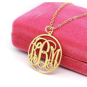 Circle Monogram Necklace  925 Sterling Gold Plating 3 initial nameplate