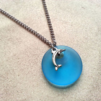 Silver Dolphin Necklace with Aqua Blue Recycled Glass Pendant. Sea Life Necklace. Stainless Steel Charm Necklace. Eco Friendly Jewelry