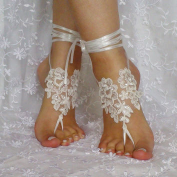 ivory sequined wedding barefoot sandal Handmade embroidered sequins modern elegant