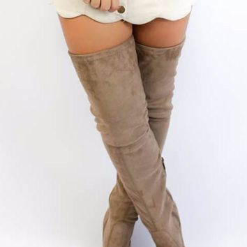 SZ 11 Get Ready Taupe Thigh High Boots