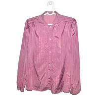 Vintage Pink Lilac Blouse Long Sleeve Button Up Striped Womens Large L