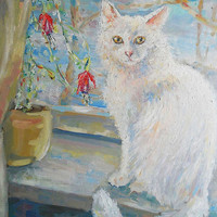 """Oil Painting Custom Cat in Window Still Life """"White cat"""" Wall Decor Flowers Contemporary Modern Floral Art Photo to Painting Pet portrait"""