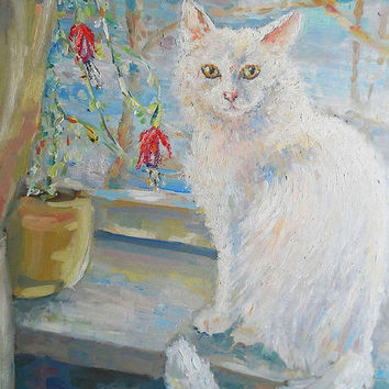 "Oil Painting Custom Cat in Window Still Life ""White cat"" Wall Decor Flowers Contemporary Modern Floral Art Photo to Painting Pet portrait"