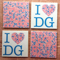Lilly Pulitzer Inspired Delta Gamma Tile Coasters
