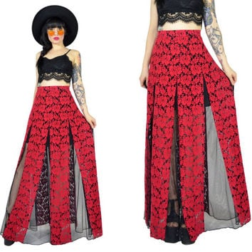 vintage 90s red lace maxi skirt sheer mesh cut out high waisted gothic vamp ultra draped dress skirt floral grunge witchy medium