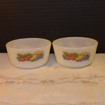 Anchor Hocking Fire King Nature's Bounty Milk Glass Bowls Vintage Pair #434 Oven Proof Round Dishes Mid Century Small Bowls Made in USA