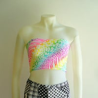 Neon Rainbow Bandeau Tube Top