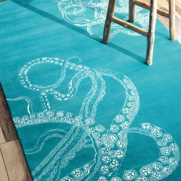 NuLOOM Hand Tufted Octopus Tail Rug Blue Waters