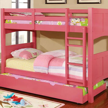 Rosalynn Pink Twin over Twin Bunk Bed