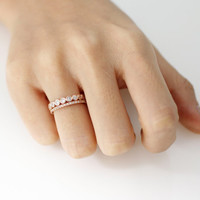 A Set of 2 Stacking Cubic Ring detailed with Cubic Zirconia in Rose Gold Color