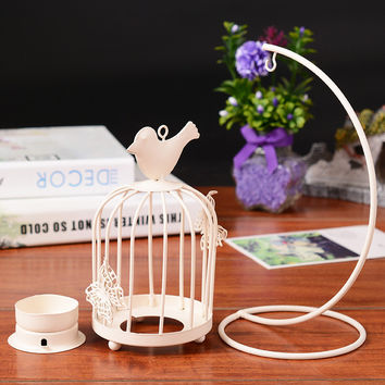 Modern NEW Bird Cage Candle Holder Hanging Metal Vintage Butterfly pattern Lantern Candlestick  Romantic Wedding Home Decor
