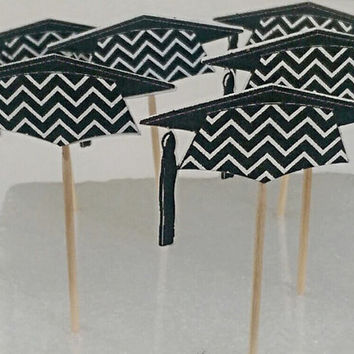12 Black Chevron Graduation Cap Cupcake Topper Picks
