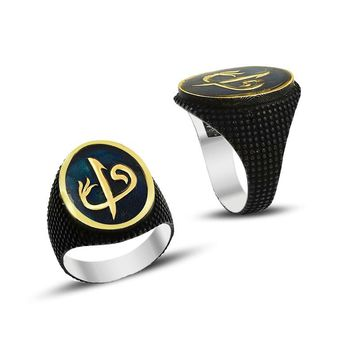 Alif vav letter monogram blue enamel sterling silver blacked mens ring
