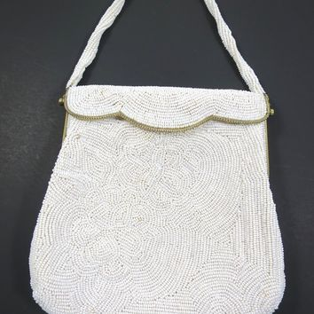 White Bead Handbag Signed Walborg Silk Lined Heavily Beaded Hand Made Formal Wedding Vintage White on White Evening Bag Made in Korea