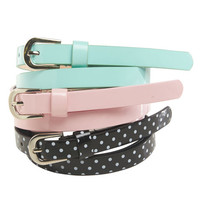 3 On Polka Dot Skinny Belt | Wet Seal