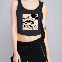 vintage mickey mouse for Crop Tank Girls S, M, L, XL, XXL *07*