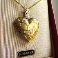 Antique Gold Bird Locket, Vintage Swallow Gold Locket, 1/20 12KT Gold Filled, Floral New Old Stock Locket