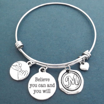 Personalized, Wax, Seal, Letter, Initial, Belive you can and you will, Pinky, Promise, Heart, Silver, Bangle, Bracelet, Gift, Jewelry