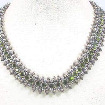 Philippe Audibert Necklace. Silver Peridot Glass Roselyne Collar Necklace. French Designer Audibert Jewelry