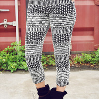 Lounging Around Pants: Black/Cream