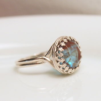 Saphiret Glass Ring - Beautiful Sterling Silver Faceted Large Glass Saphirine or Saphiret