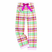 Youth Beach Pink Green White Plaid Check VIP Flannel Pants for lounging, sleep, sports. Unisex...