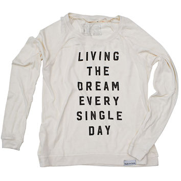 Living The Dream White Women's Lightweight Pullover