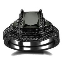 2.06ct Black Princess Cut Diamond Engagement Ring Wedding Set 14k Black Gold