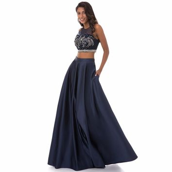 Women's Popular Two Piece A Line Satin Prom Party Dress With Beading And Appliques