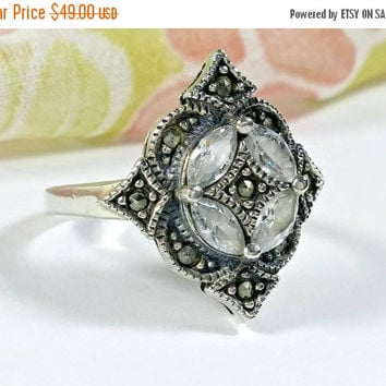 Antique Style Vintage Silver Marcasites Clear Faceted Glass Rhinestones Ladies Ring Antiqued Silver Antique Victorian Style Dazzling Delight