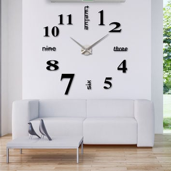 Modern DIY Wall Clock Large Watch Decor Stickers Set Mirror Effect Acrylic Glass Decal Home Removable Decoration