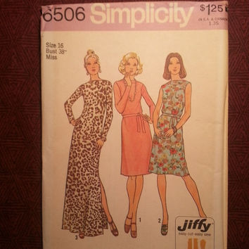 Uncut 1970's Simplicity Sewing Pattern, 6506! Size 16 Bust 38 Large/Women's/Misses/Jiffy Dress/Draped Bateau/Extended Shoulders Dress/Tie
