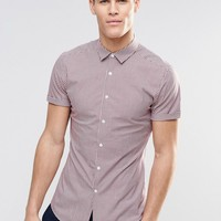 ASOS Skinny Shirt In Burgundy Gingham Check With Short Sleeves