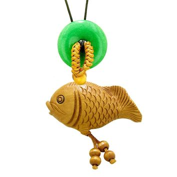 Fortune Cute Fish Car Charm or Home Decor Green Quartz Lucky Coin Donut Protection Powers Magic Amulet