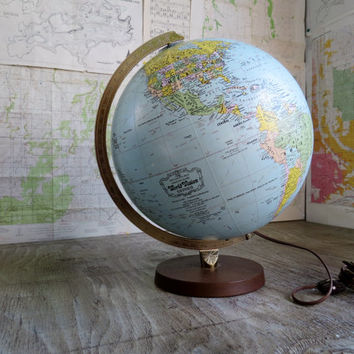 "Vintage Replogle World Globe - World Vision series 12"" globe LIGHTED ~ 1960's"
