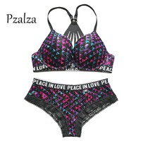 Pzalza Underwear Set Women Sexy Cute vs Pink Back Push Up Bra Set Lace Women Underwear Panty Set Front Closure Lingerie Bra