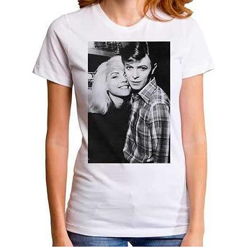 David Bowie and Debbie Harry Womens Retro T-Shirt