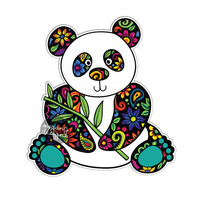 Panda Car Decal - Colorful Flowers Design Bumper Sticker Laptop Decal Pink Green Teal Yellow Jungle Cute Car Decal Hippie Boho Panda Bear