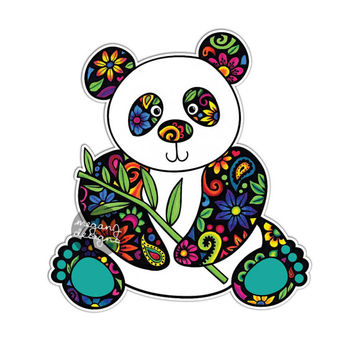 Panda car decal colorful flowers design bumper sticker laptop decal pink green teal yellow jungle