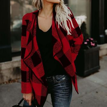 Women Blazers Coat 2017 Autumn Winter Check&Plaid Vintage Cardigan Long Sleeve Casual Asymmetric Wool Coat Jacket Loose Outwear