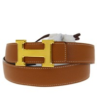 Auth HERMES Constance H Buckle Belt Leather Gold-tone Blue Brown #95 70BD503