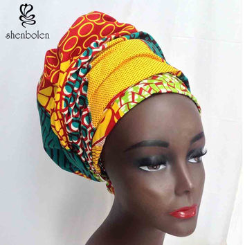 Kente head wrap pure cotton tow size 44*34 and 64*13 inch