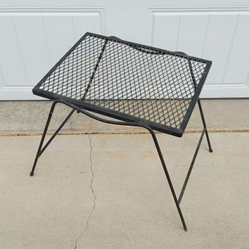 Vintage Wire Mid Century Wrought Iron Mesh Patio Table